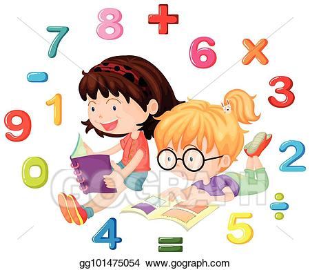 Clipart math reading. Eps vector two girls