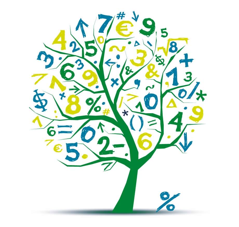 Maths black and white. Tree clipart math
