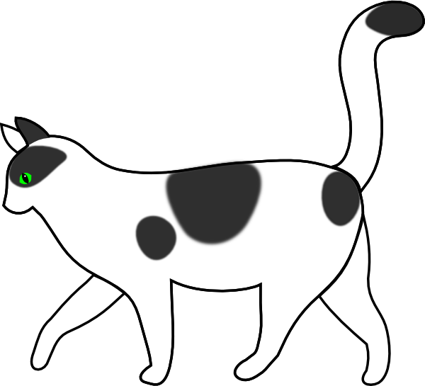 Clipart walking cartoon. Black and white cat