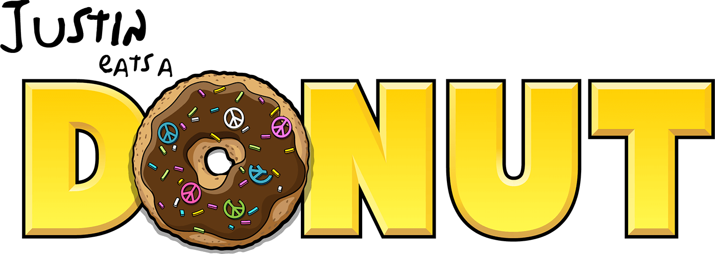 Justin eats a donut. Donuts clipart yellow