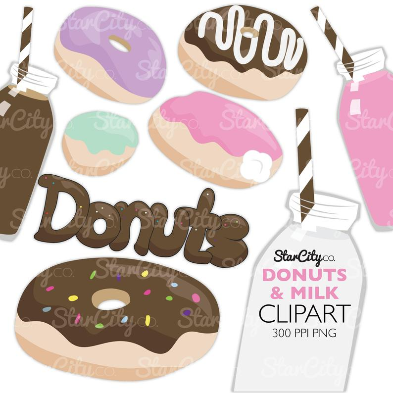 Donuts clipart milk. And donut cream filled