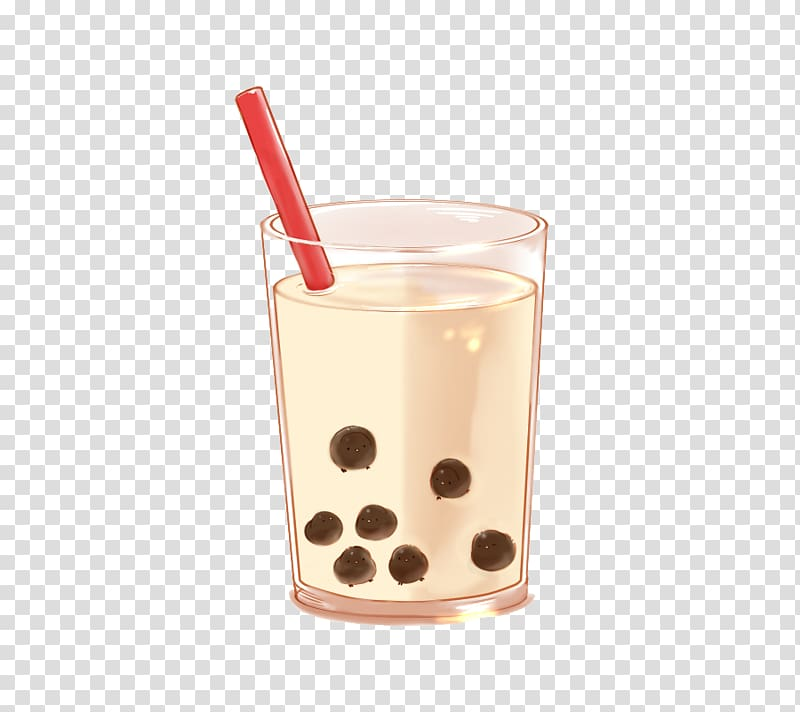 With red straw bubble. Clipart milk drinking glass