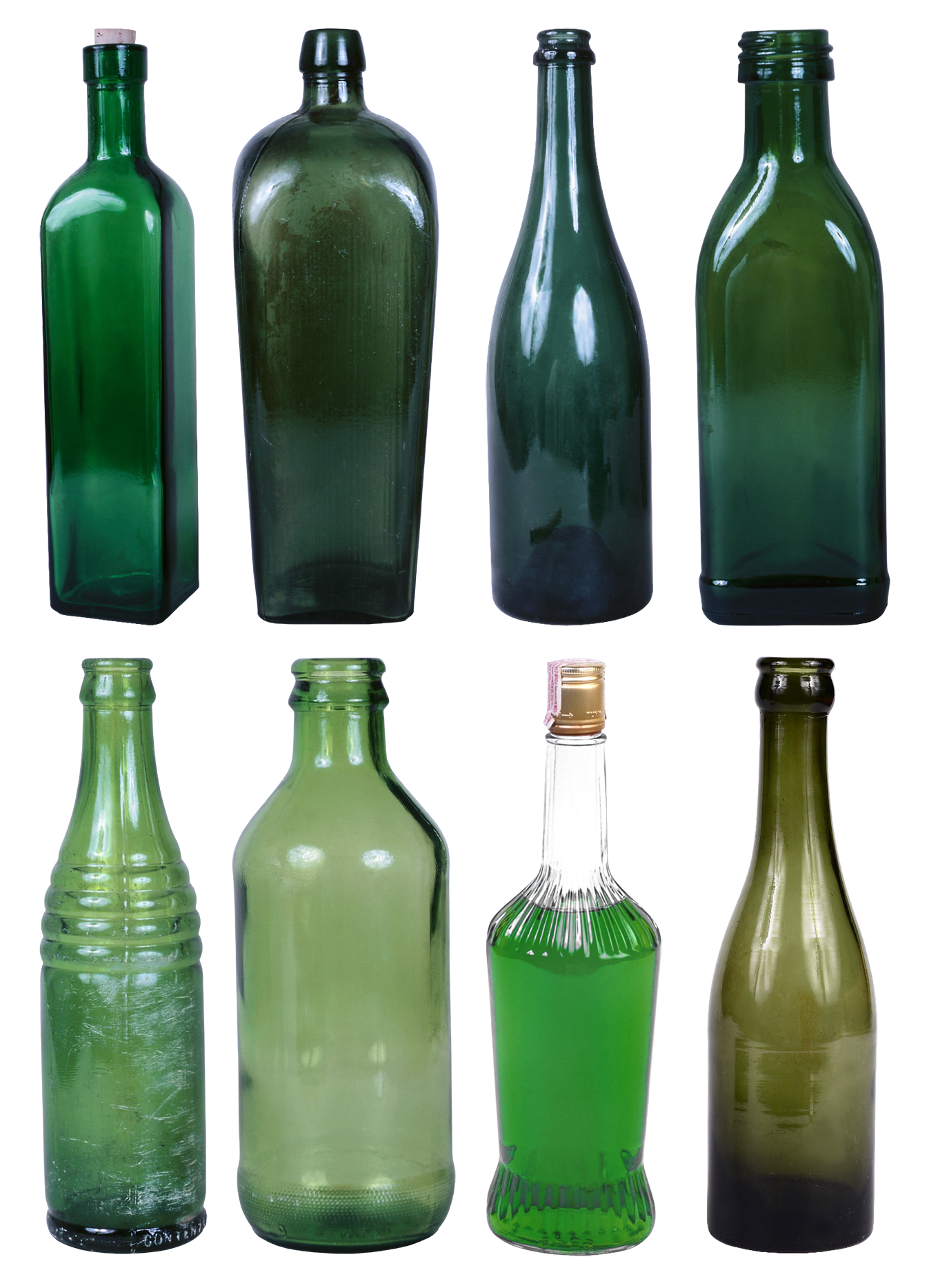 Set of alcohol bottles. Milk clipart empty glass