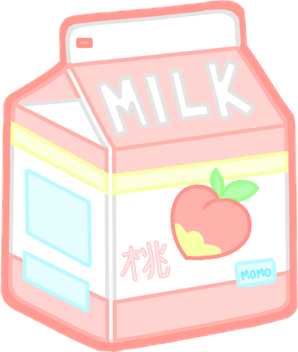 Milk clipart fruit. Kawaii tumblr aesthetictumblr peach