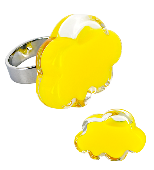 Clipart milk glass item. Nuage medium ring yellow
