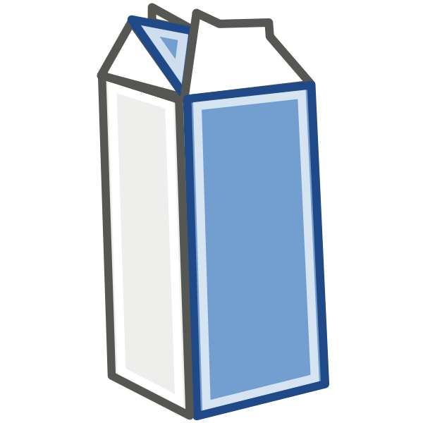 Clipart milk half cup. Carton black and white