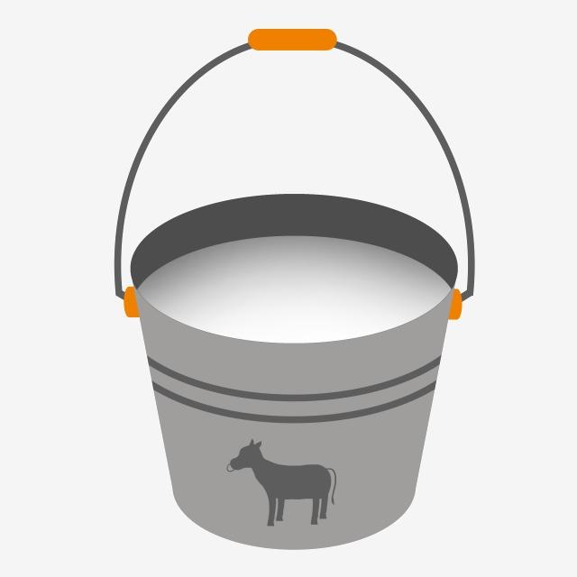Clipart milk milk bucket. Grey cartoon illustration