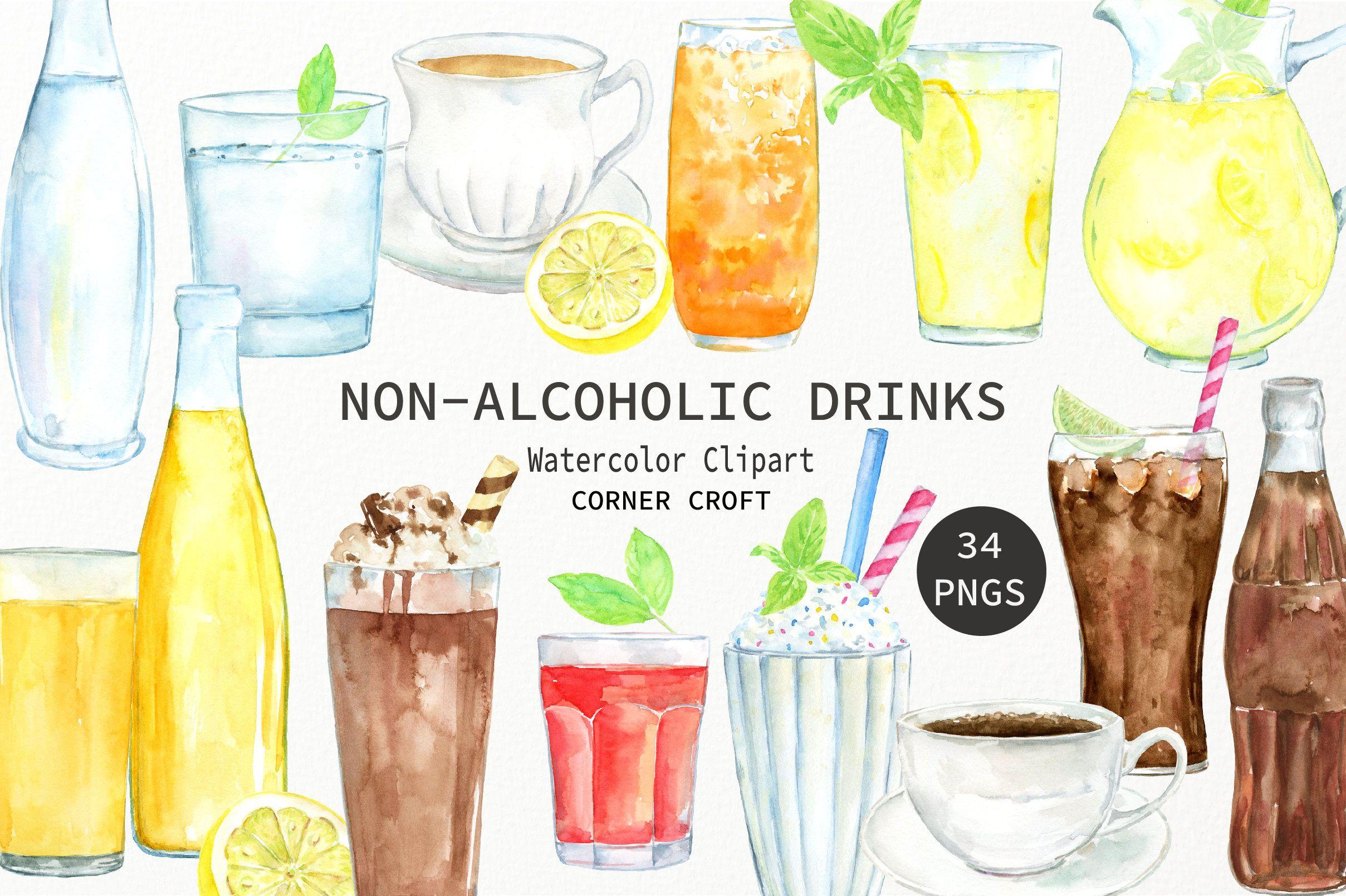 Drinks clipart non alcoholic beverage. Watercolor water juice milk