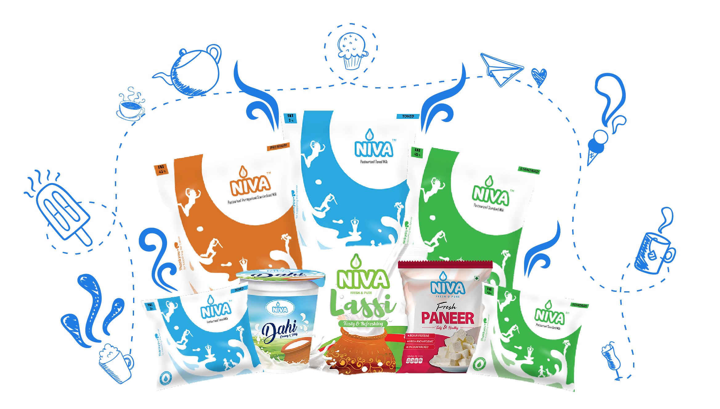 Niva dairy products . Clipart milk milk packaging