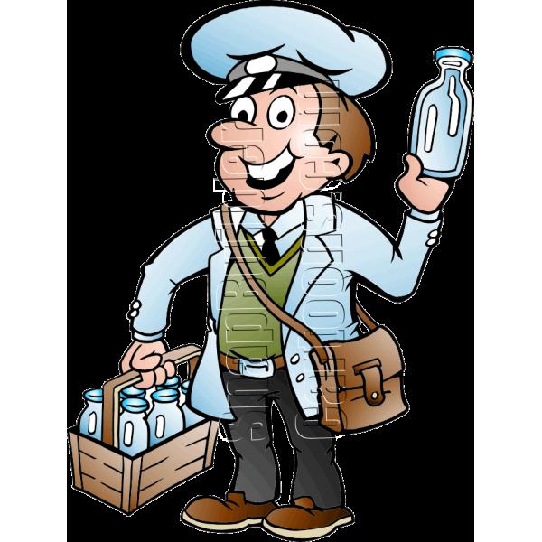 Man delivering . Milk clipart milkman