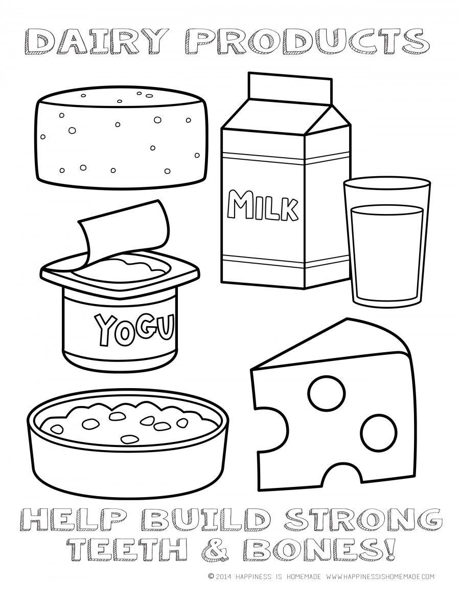 Clipart milk preschool. Dairy foods coloring page