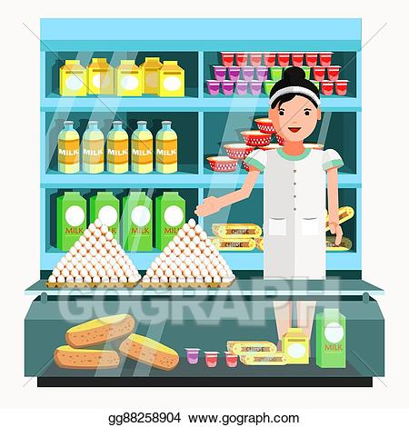 Vector product seller at. Dairy clipart dairy store
