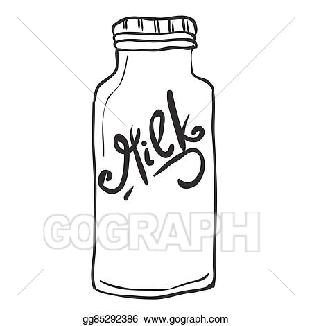 Clipart milk simple. Vector black and white