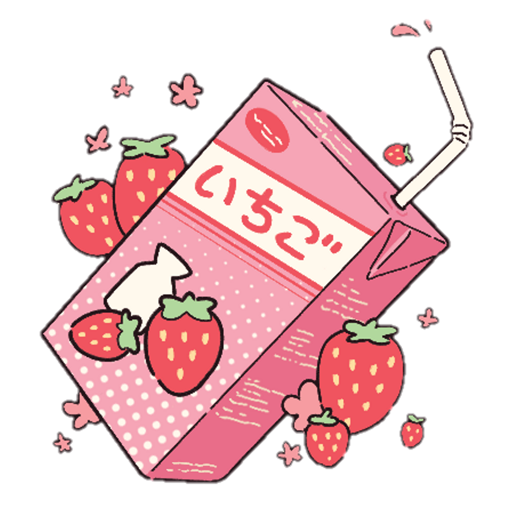 Strawberries clipart kawaii. Aesthetic milk strawberry pastel