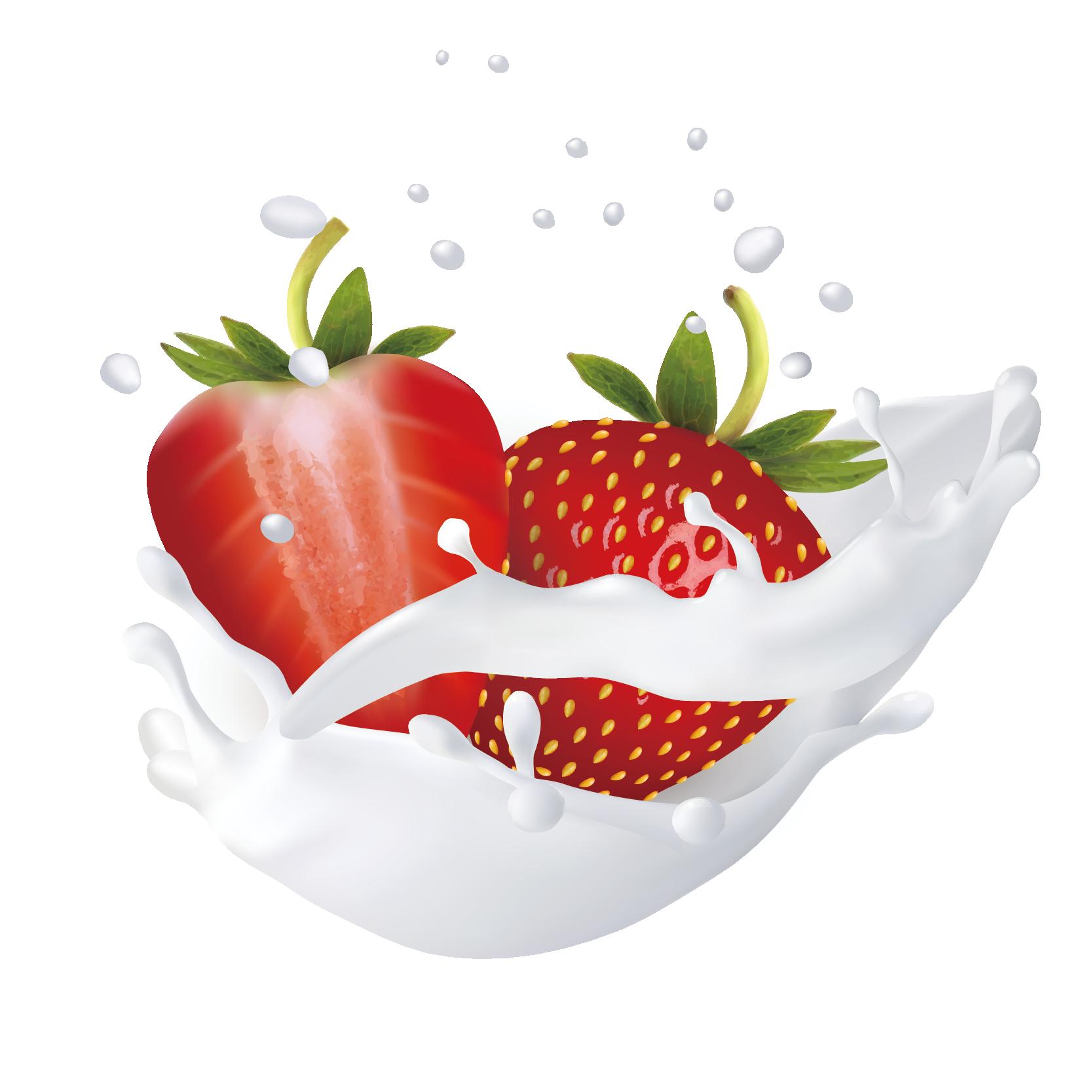 Strawberries clipart splash. Flavored milk peach hand