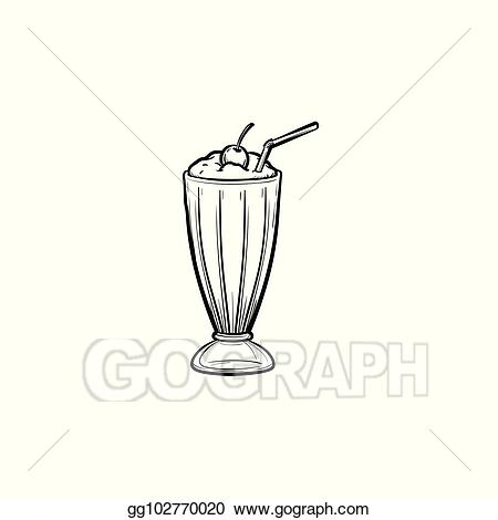 Clipart milk tall glass. Eps illustration cocktail in