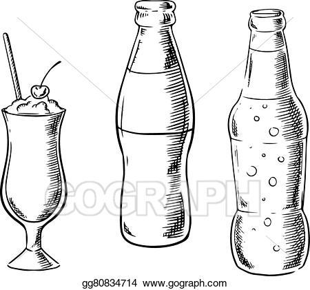 Vector beer sweet soda. Clipart milk tall glass