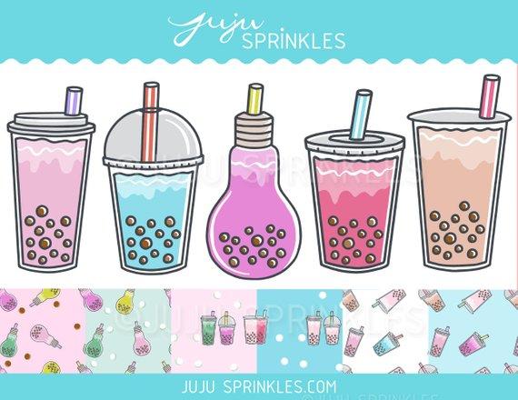 Clipart milk tea glass. Bubble boba planner