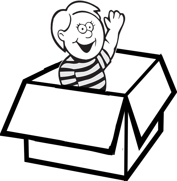 Furniture clipart boys. Boy in box clip