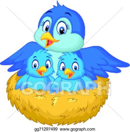 Nest clipart mother bird. Vector cartoon with her