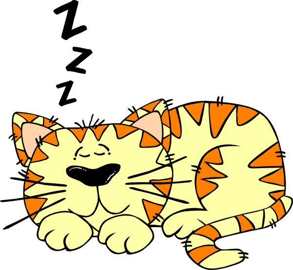 Sleep cat clip art. Tired clipart bed clipart