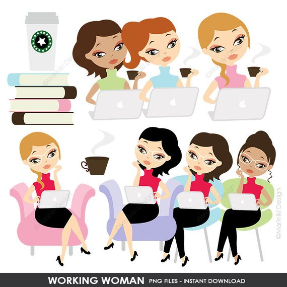 Clipart mom character. Working woman clip art