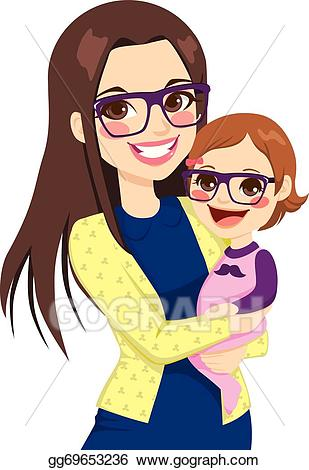 Clipart mom cute. Vector art hipster and