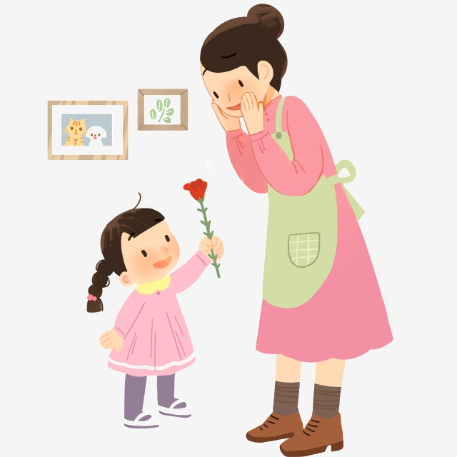 Child giving flowers mother. Clipart mom cute