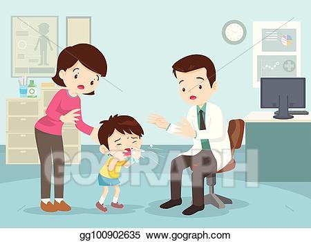 Vector took her son. Mother clipart patient
