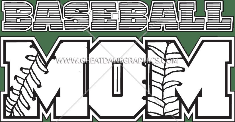 Baseball production ready artwork. Clipart mom font