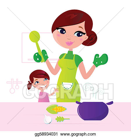 Mother clipart mother cooks food. Vector art cooking healthy