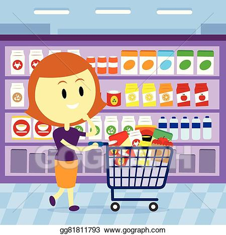 Grocery clipart woman. Vector stock shopping illustration
