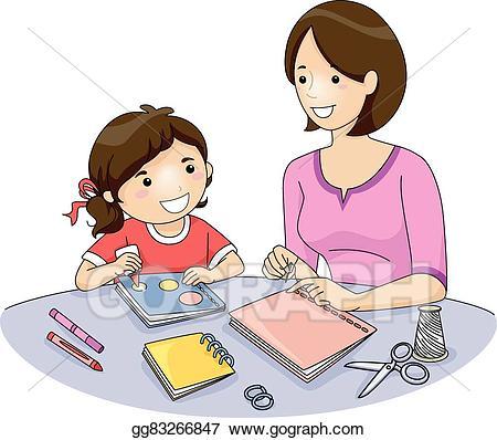 Clip art vector kid. Clipart mom homework