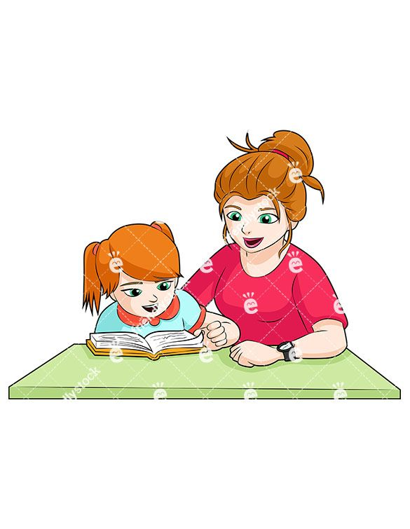 Clipart mom homework. A green eyed and