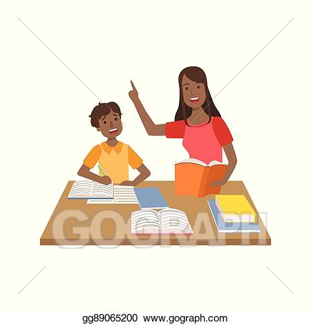 Vector illustration mother and. Clipart mom homework