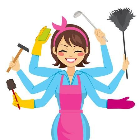 Clipart mom house. Stock vector cleaning lady