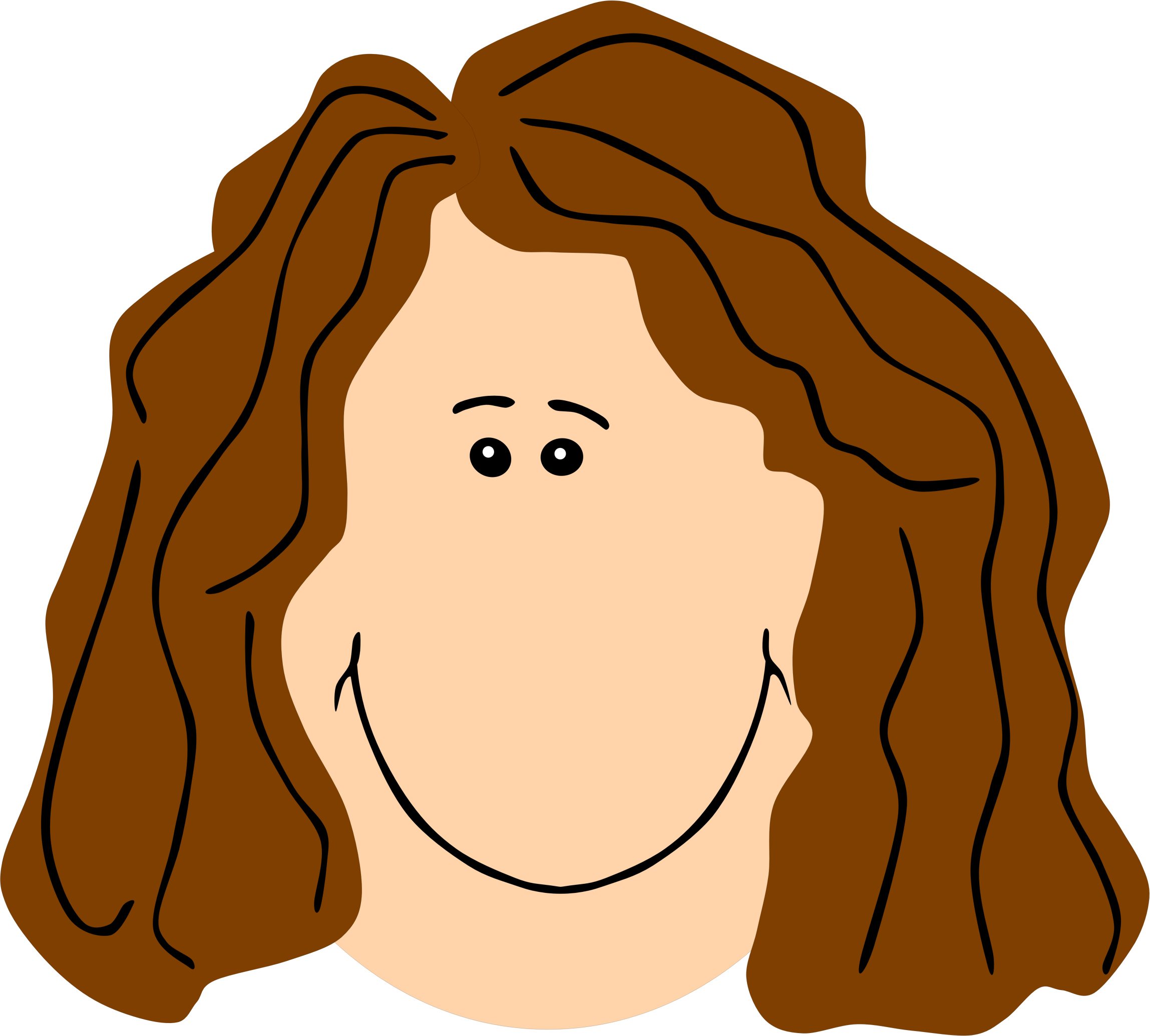 Face brown big image. Clipart mom office