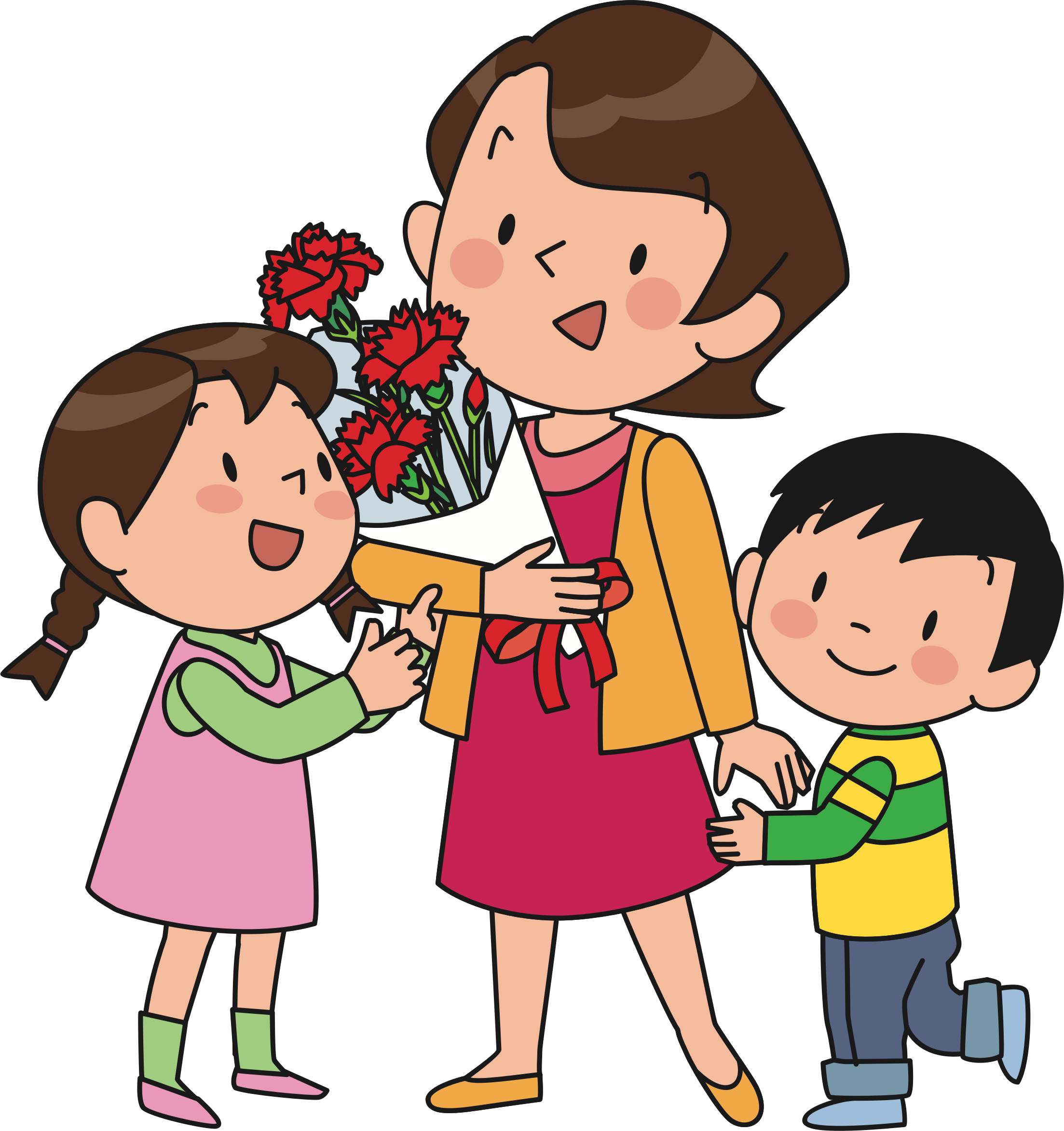 Clipart mom parent. Mother and children by