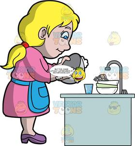 A dishes . Clipart mom washing