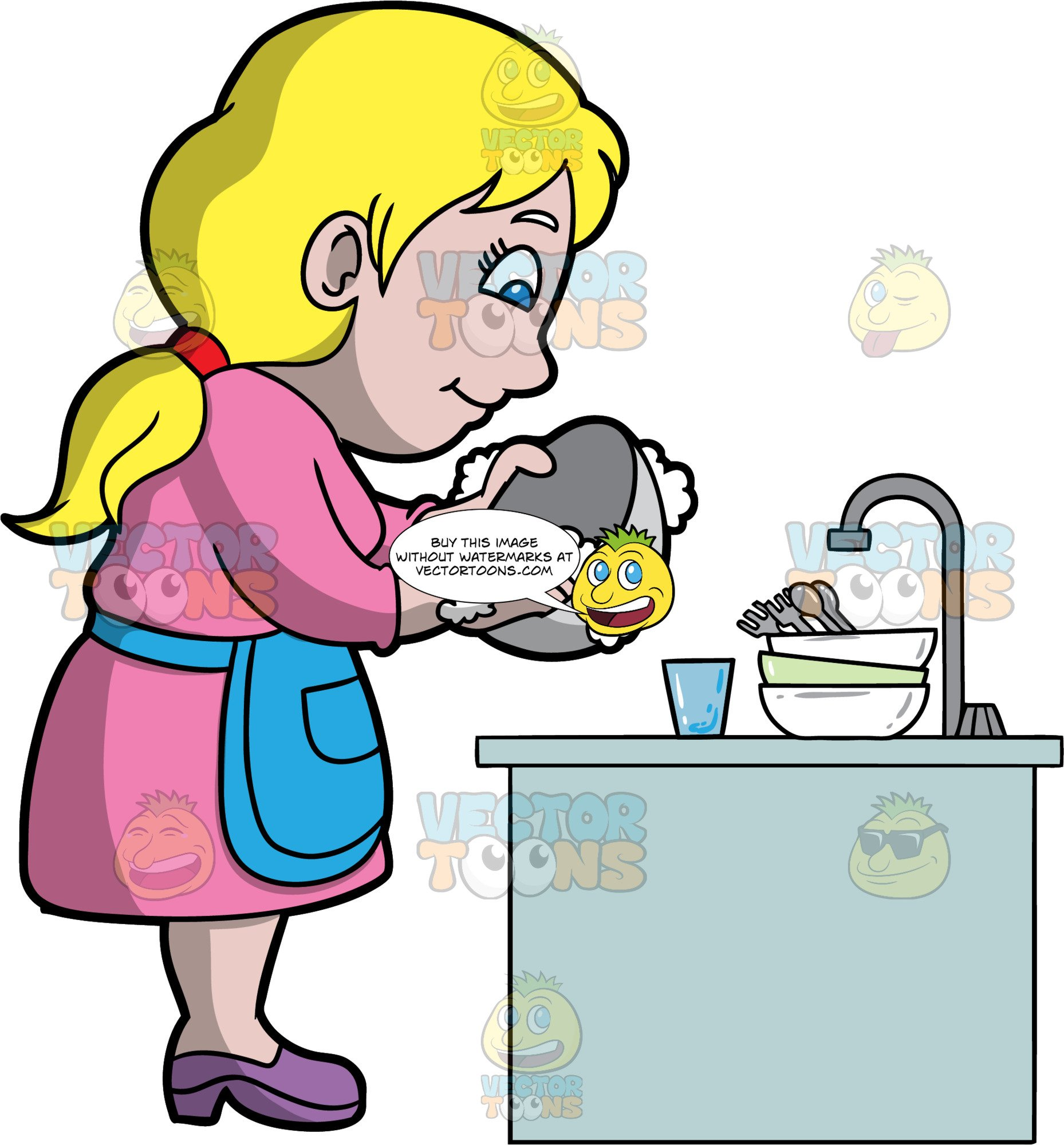 A dishes . Clipart mom washing dish