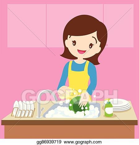 Vector art drawing gg. Clipart mom washing dish