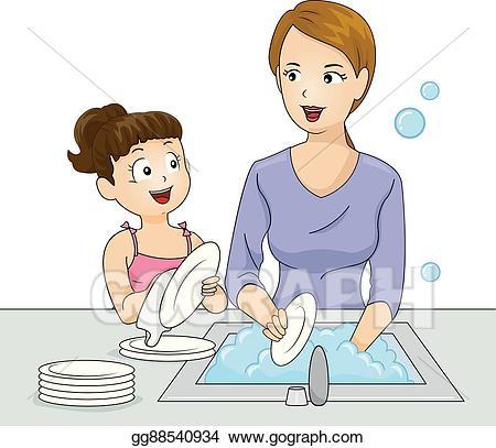 Clipart mom washing. Vector kid girl wash