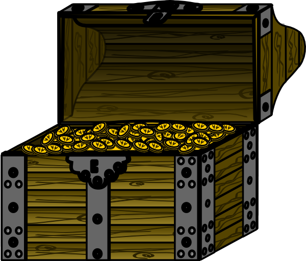 Pirate chest with coins. Treasure clipart animated