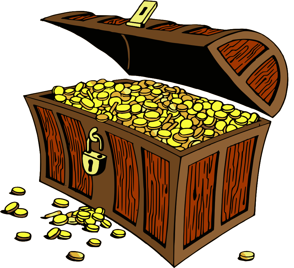 Treasure clipart money. Chest gold