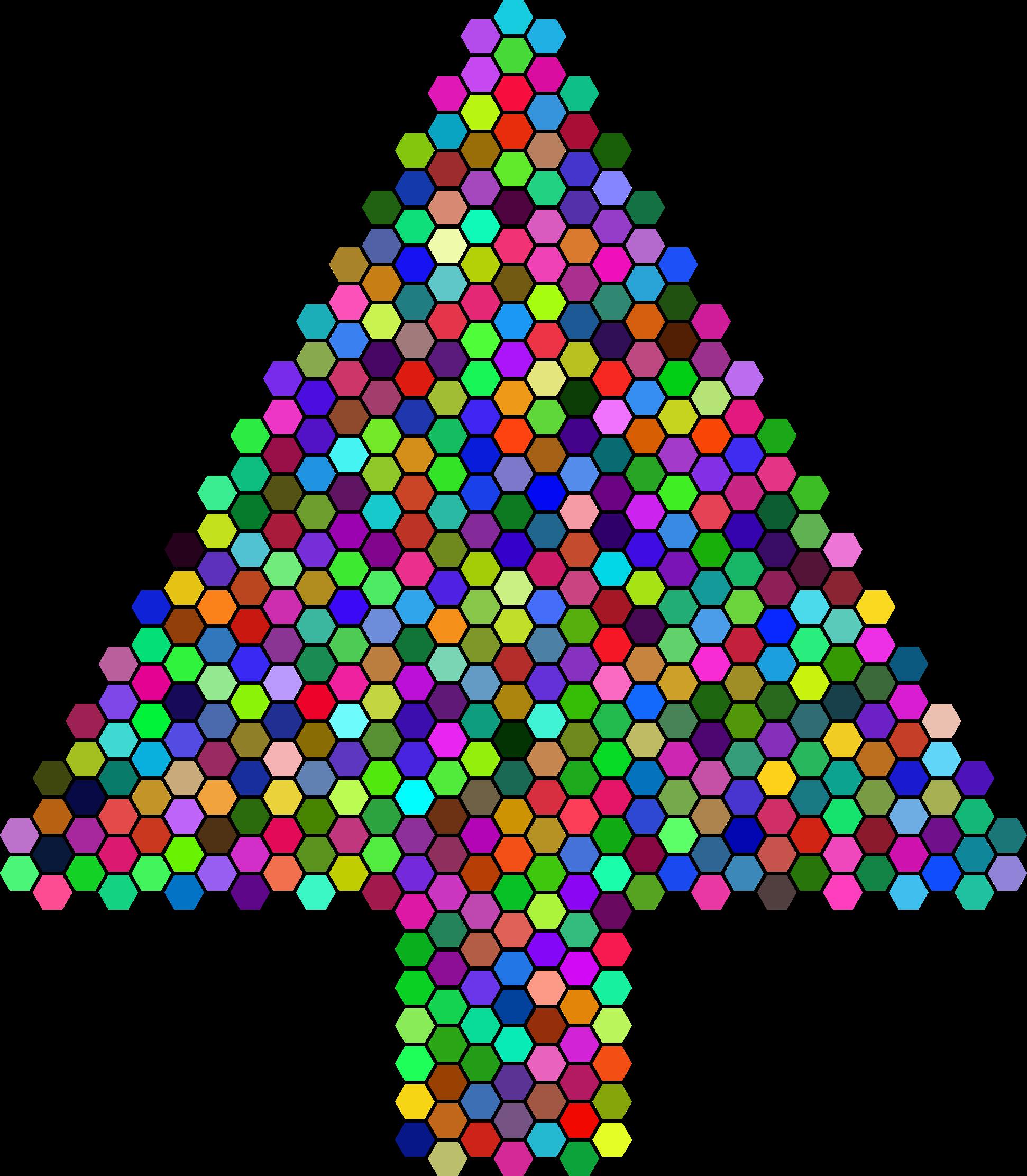 Prismatic hexagonal abstract tree. Clipart money christmas