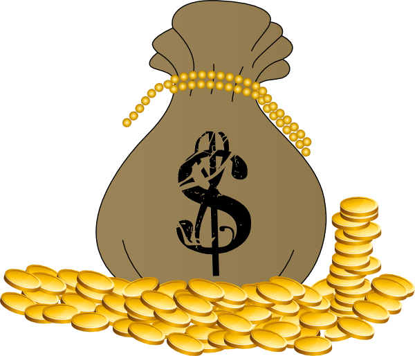 Bag of gold clip. Coin clipart sack money