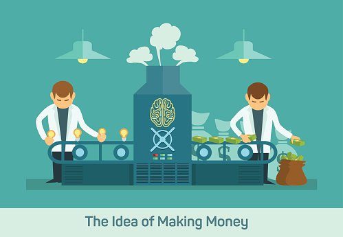 Creative machine flat premium. Clipart money factory