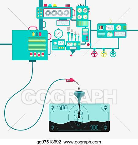 Clipart money factory. Vector art and oil