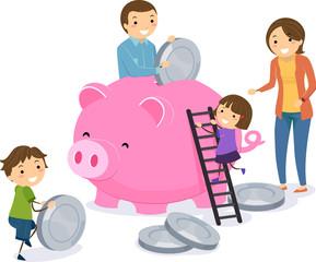 Clipart money family. Stickman kids parents bank