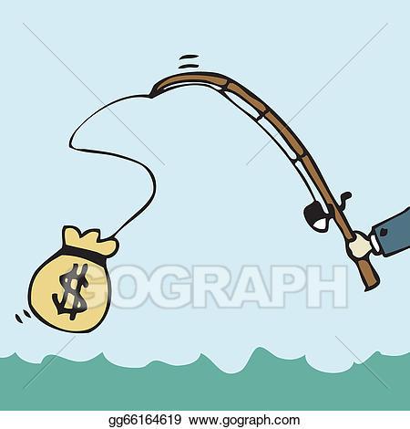 Fishing clipart money. Eps illustration vector gg